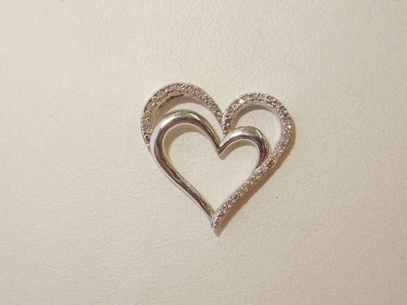 Silver-Diamond Pendant 43 Diamonds .43 Carat T.W. 925 Silver 1.9g