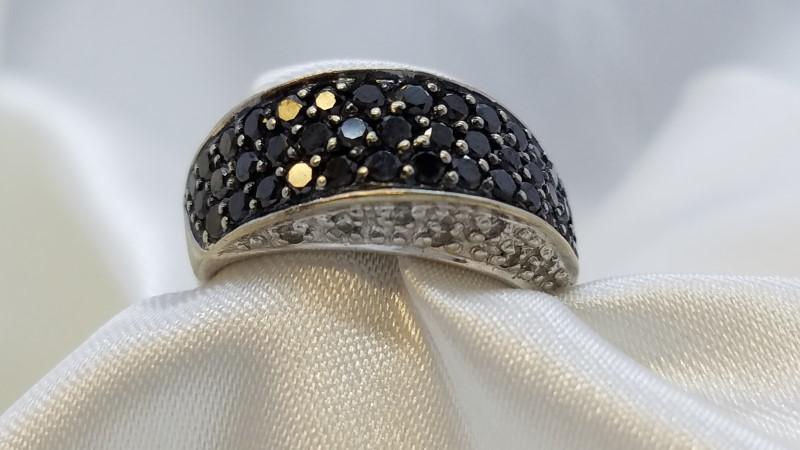 Ladies Cluster Ring Black Diamonds 1.26 CTW 14K White Gold