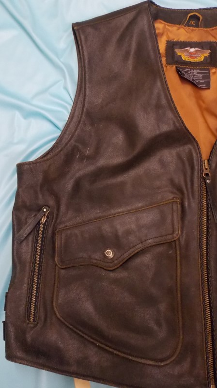 HARLEY DAVIDSON MENS 2XL LEATHER VEST