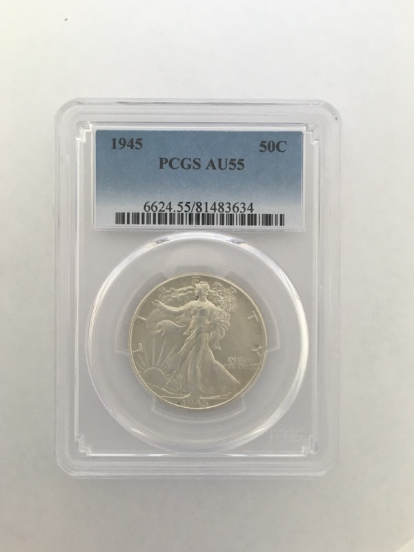 1945 Walking Liberty Half Dollar (50c) PCGS Graded AU55 90% Silver