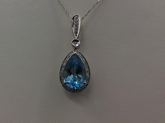 Synthetic Blue Topaz Diamond & Stone Necklace 24 Diamonds .048 Carat T.W.