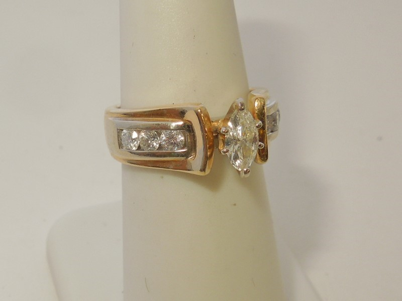 Lady's Gold-Diamond Anniversary Ring 7 Diamonds .95 Carat T.W. 14K 2 Tone Gold