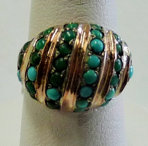 Synthetic Turquoise Gent's Silver & Stone Ring 925 Silver 5.97dwt