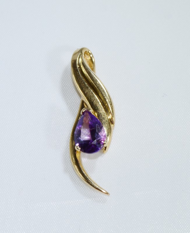 14K Yellow Gold Elegant Pear Amethyst Swooping Statement Slide Pendant