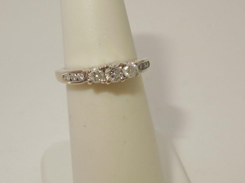 Lady's Gold-Diamond Anniversary Ring 9 Diamonds .35 Carat T.W. 14K White Gold
