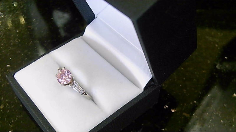 Lady's Pink Stone Silver Ring 925