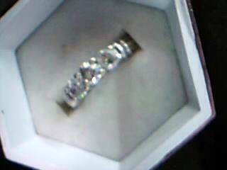 Lady's Diamond Cluster Ring 3 Diamonds .90 Carat T.W. 14K White Gold 5.46g