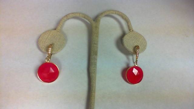 Pink Stone Gold-Stone Earrings Yellow Gold Filled 5.2g