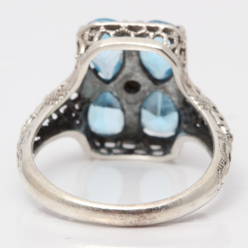 Vintage Inspired Sterling Silver Pear Cut Blue Stone Ring Size 7.25