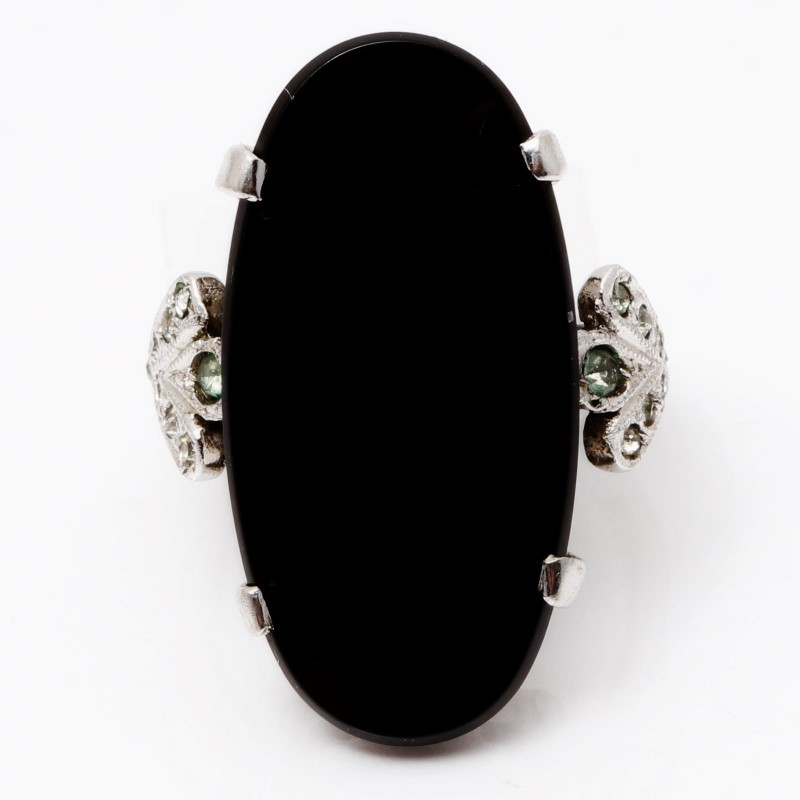 Sterling Silver Oval Cut Onyx Statement Ring Size 7.5