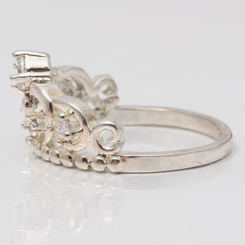 Sterling Silver Princess Tiara Ring W/ Round Cubic Zirconia Size 6.8