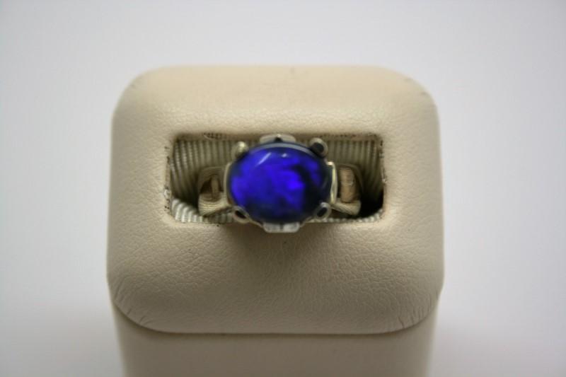 LADY'S BLUE OPAL RING 14K WHITE GOLD