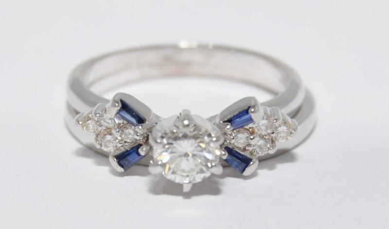 14K White Gold Diamond & Baquette Sapphire Wedding Engagement Ring Set Size:6