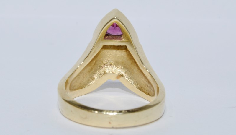 14K Yellow Gold Amethyst, Diamond & Inlaid Opal Trinity Ring s. 7.5