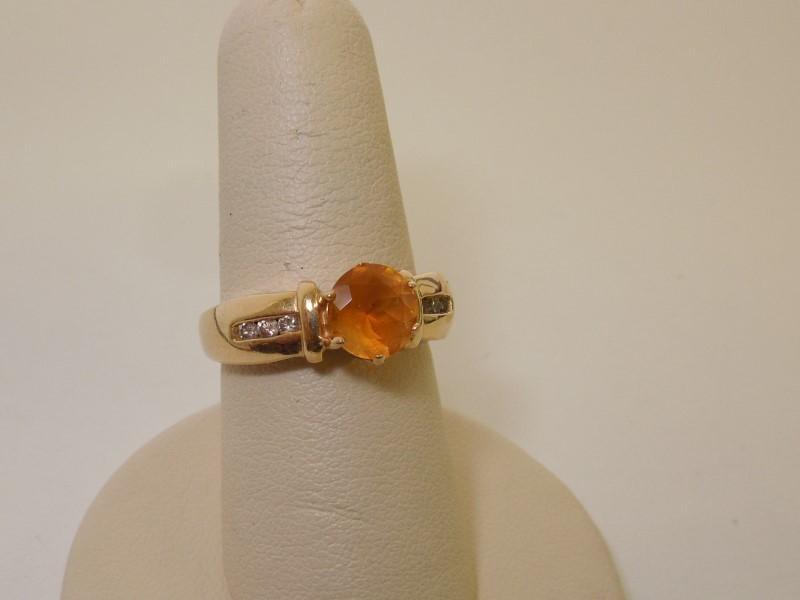 Synthetic Citrine Lady's Stone & Diamond Ring 6 Diamonds .06 Carat T.W.