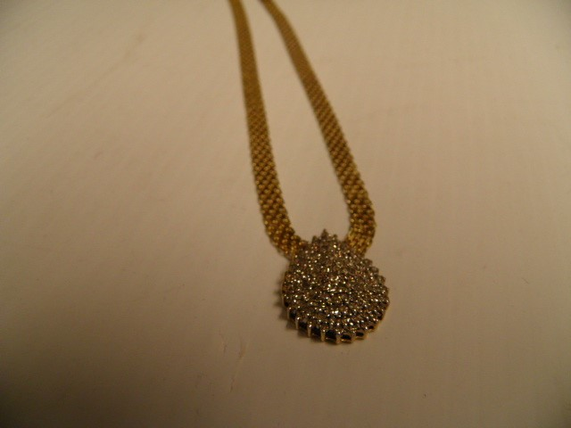 Beautiful Ladies Pear Shaped Diamond and Gold Pendant