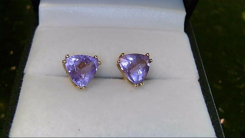 Lady's 14k yellow gold triangular cut amethyst earrings