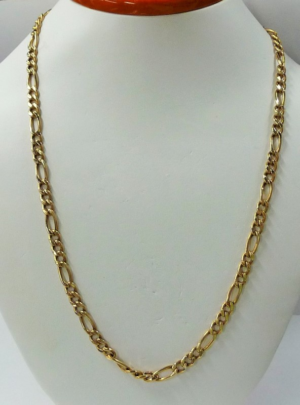 "22"" Gold Figaro Chain 14K Yellow Gold 9.65dwt"