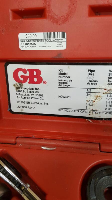 """GB Gardner Bender KOW-520 1/2"""" thru 2"""" Conduit Knockout Punch Driver Set"""