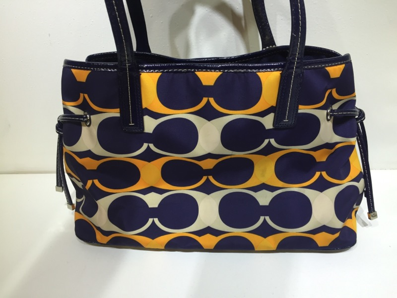 Coach Orange & Navy Blue Signature Stripe Linear Carryall Handbag/Purse F23902