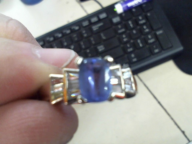 Sapphire Lady's Stone & Diamond Ring 12 Diamonds .72 Carat T.W. 14K Yellow Gold