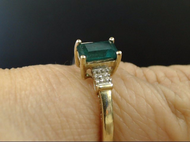 ESTATE DIAMOND EMERALD CUT GREEN STONE RING SOLID REAL 10K GOLD SZ 7
