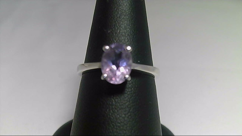 lady's sterling silver 925 oval purple stone ring, 2.4g