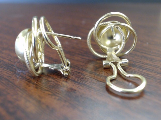 VINTAGE SOLID REAL 14K GOLD EARRRING LOVE KNOT DOME STAR BURST 3.7g