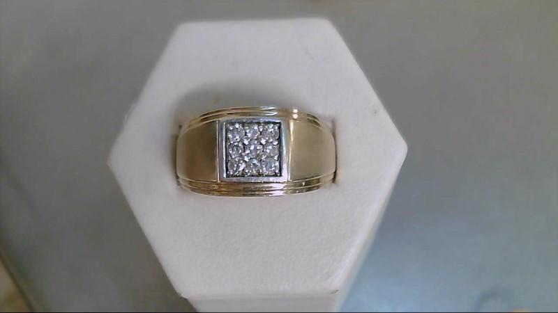 Gent's Diamond Fashion Ring 9 Diamonds .42 Carat T.W. 10K Yellow Gold 8.5g