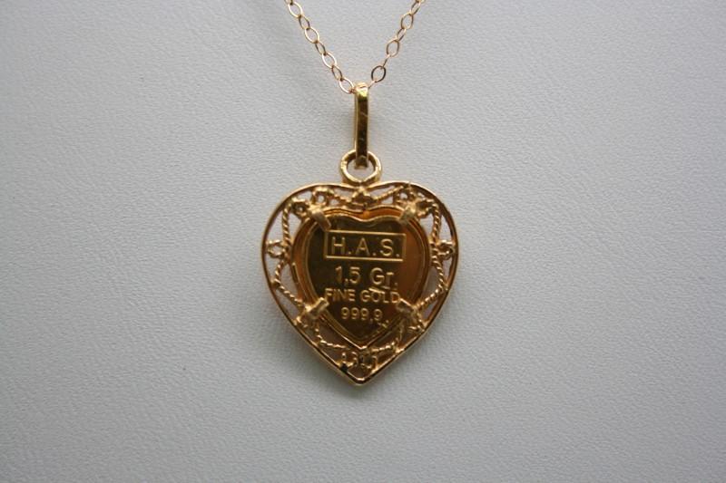 H.A.S HEART SHAPE INGOT 1.5G FINE GOLD