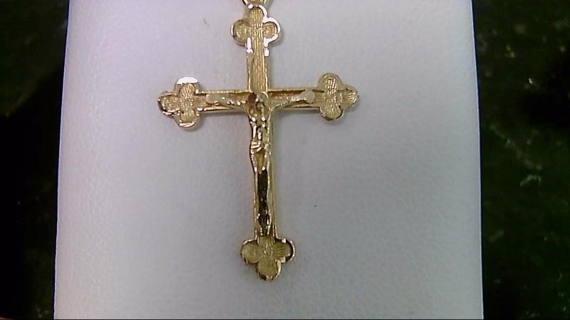 18k yellow gold crucifix cross pendant