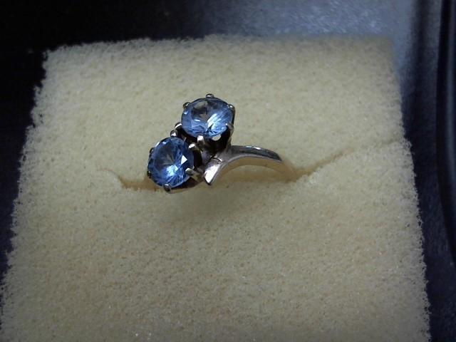 Synthetic Aquamarine Lady's Stone Ring 10K Yellow Gold 2.5g