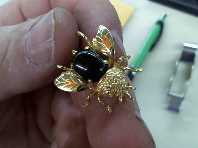 Black Stone Gold-Stone Brooch 14K Yellow Gold 3.2g