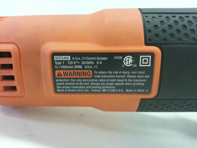"Black & Decker Small Angle Grinder 4.5"" BDEG400 - Free Shipping ]"