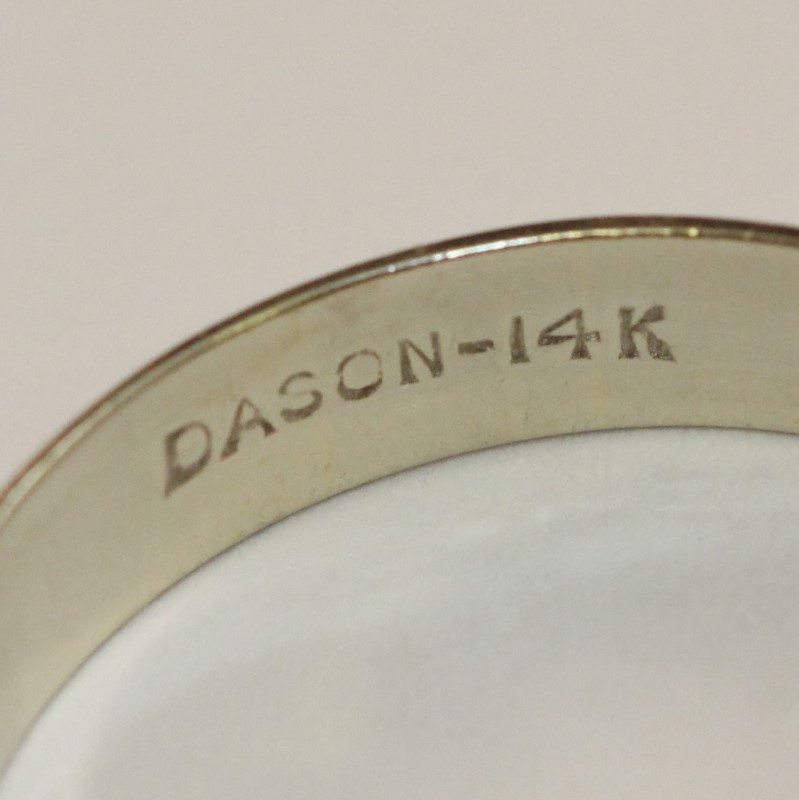 14K White Gold DASON Men's Wedding Band Ring sz 12.75