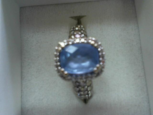 Blue Stone Lady's Stone & Diamond Ring 30 Diamonds .50 Carat T.W.