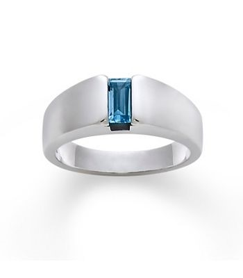 Synthetic Blue Topaz Lady's Silver & Stone Ring 925 Silver 5.9g