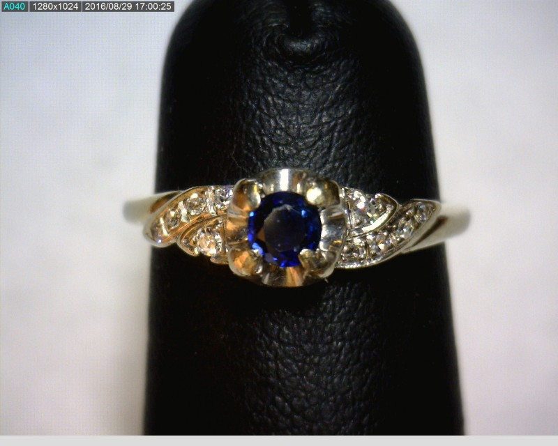 Sapphire Lady's Stone & Diamond Ring 10 Diamonds .12 Carat T.W. 18K White Gold