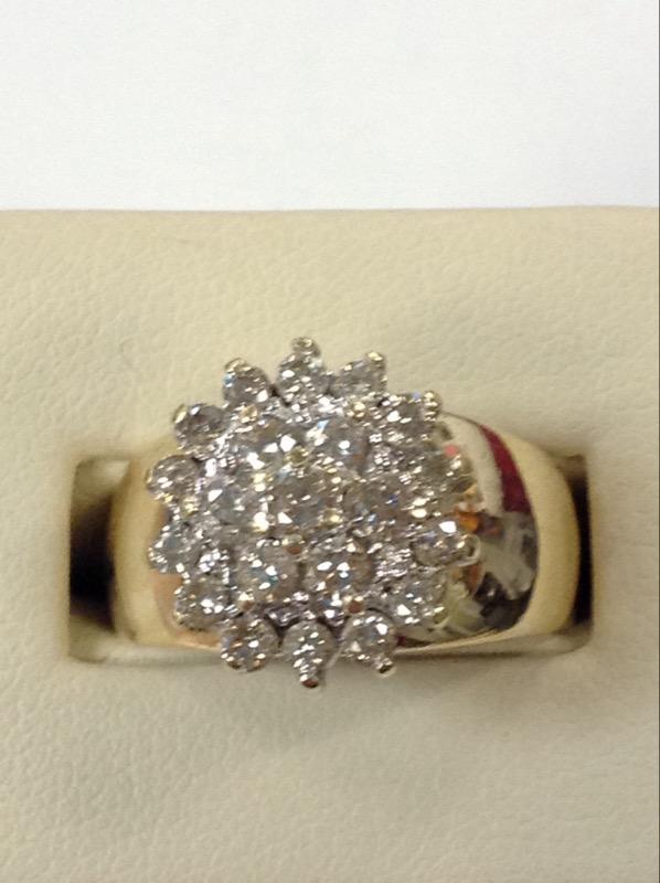 Lady's Diamond Cluster Ring 21 Diamonds 1.05 Carat T.W. 10K Yellow Gold 6.8g