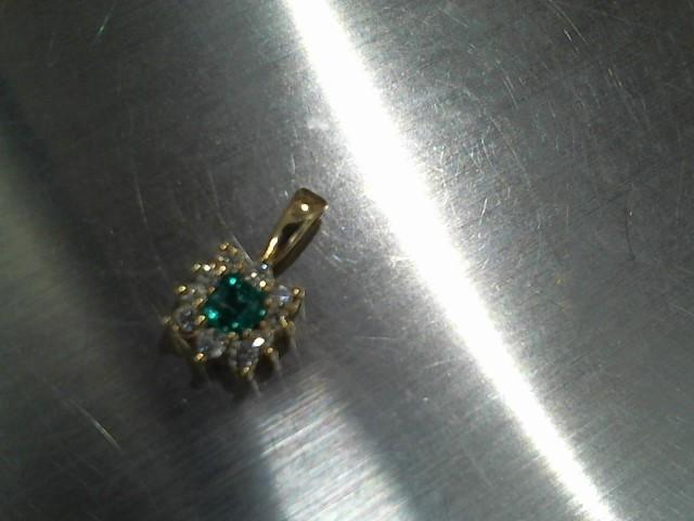 Synthetic Emerald Gold-Diamond & Stone Pendant 10 Diamonds .30 Carat T.W.