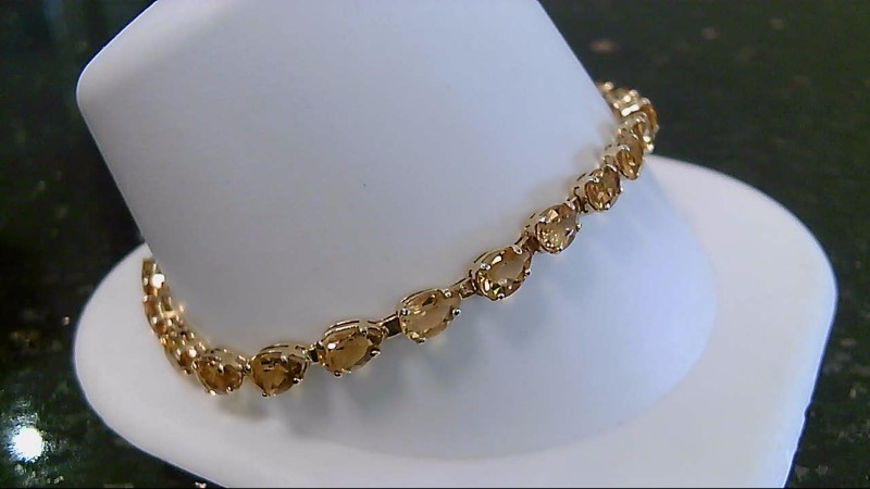 "7.25"" Citrine Gold-Stone Bracelet 14K Yellow Gold 5.8g"