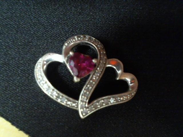 Red Stone Silver-Stone Pendant 925 Silver 2g