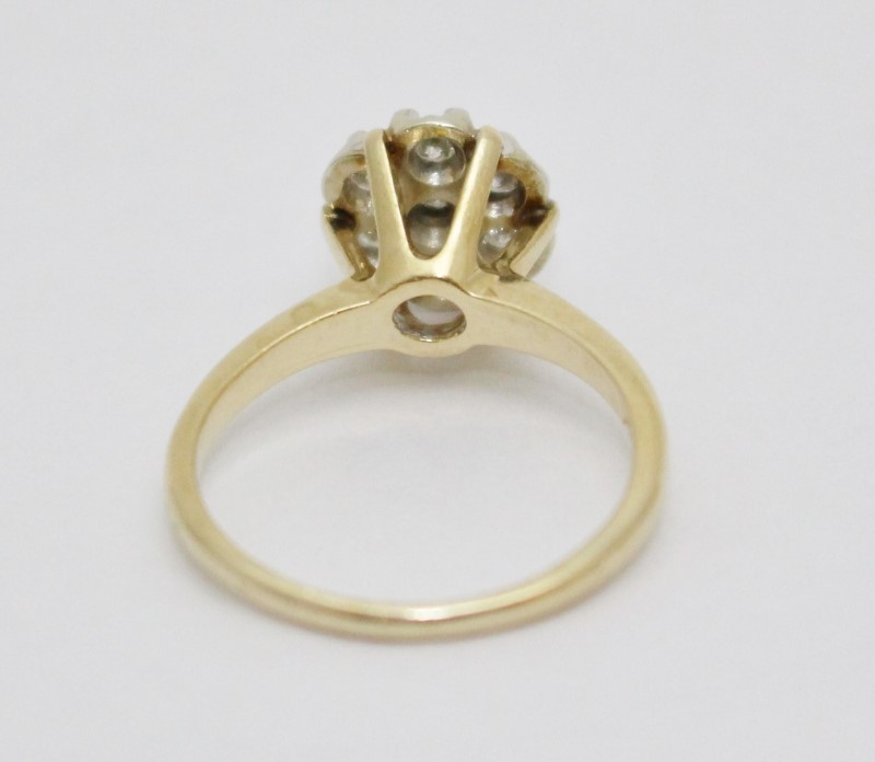 14K Yellow Gold Vintage Inspired Diamond Cluster Engagement Ring Size 8.5