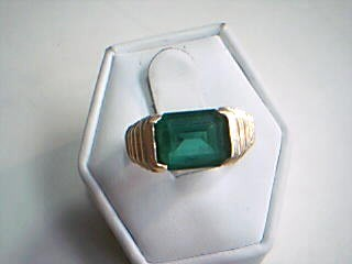 Green Stone Gent's Stone Ring 14K Yellow Gold 5.5g