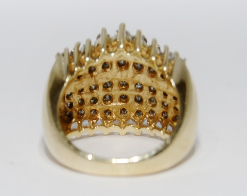 10K Yellow Gold Vintage Inspired Champagne Diamond Cluster Dome Ring Size 7