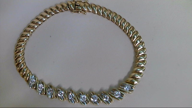 Gold-Diamond Bracelet 10 Diamonds 1.00 Carat T.W. 18K Yellow Gold 15g