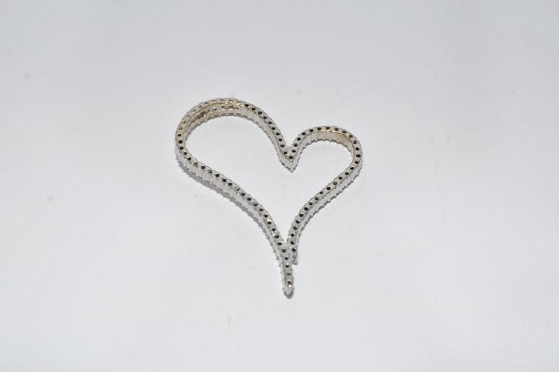 14K White Gold Large Funky Heart Diamond Outline Slide Pendant