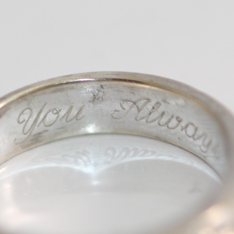 "Inscribed ""I Love You Always"" Claddagh Silver Wedding Band Size 8"