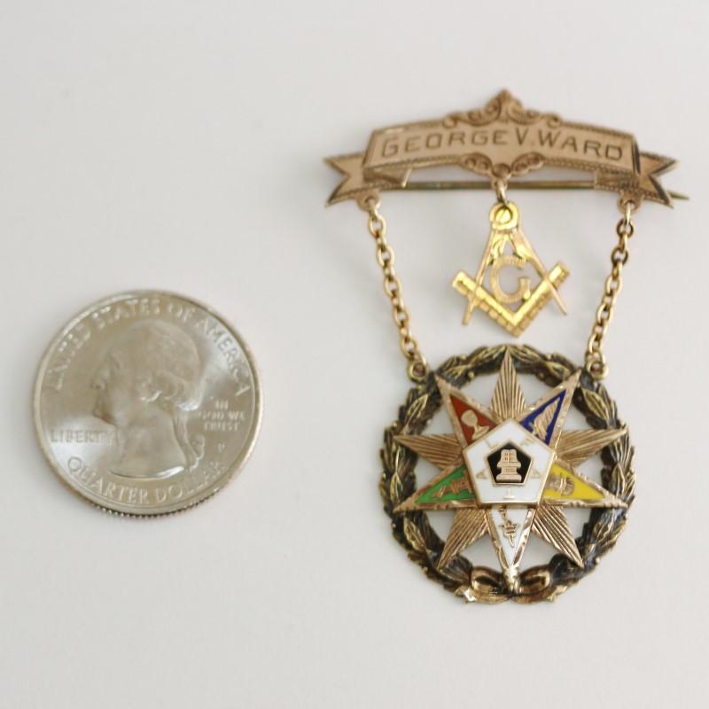 1922 10K Yellow Gold And Brass Masonic Star Pendant
