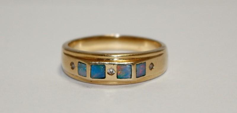 Synthetic Opal Lady's Stone & Diamond Ring 3 Diamonds .03 Carat T.W.